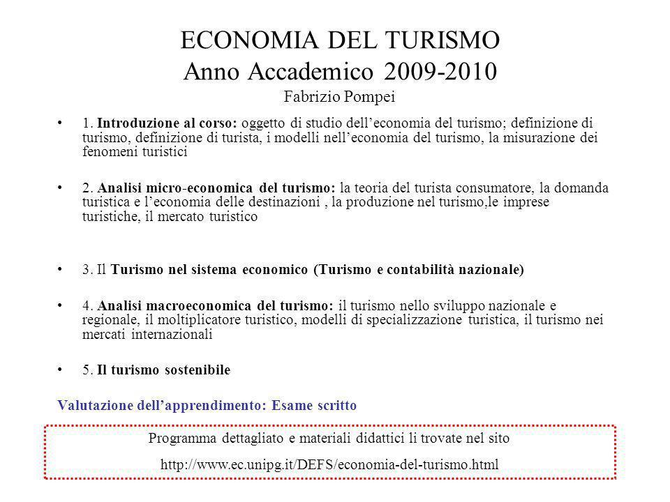 ECONOMIA DEL TURISMO Anno Accademico 2009-2010 Fabrizio Pompei