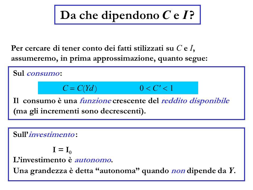 Da che dipendono C e I Per cercare di tener conto dei fatti stilizzati su C e I, assumeremo, in prima approssimazione, quanto segue: