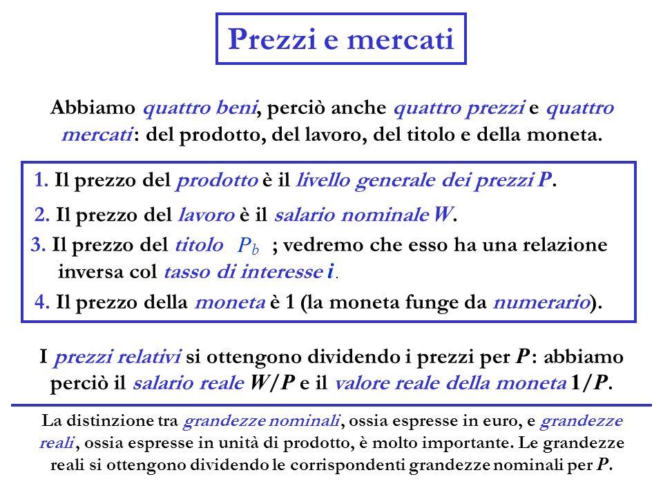 Prezzi e mercati Abbiamo quattro beni, perciò anche quattro prezzi e quattro mercati : del prodotto, del lavoro, del titolo e della moneta.