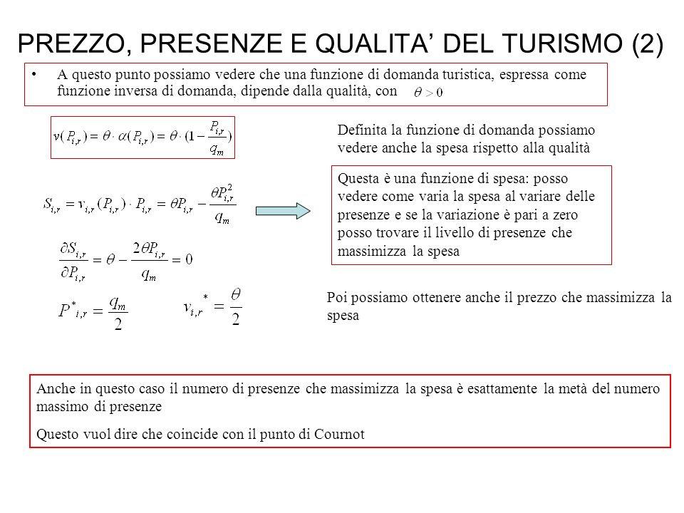 PREZZO, PRESENZE E QUALITA' DEL TURISMO (2)