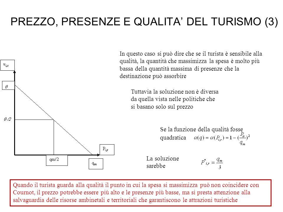 PREZZO, PRESENZE E QUALITA' DEL TURISMO (3)