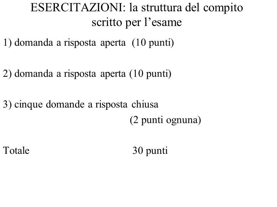 ESERCITAZIONI: la struttura del compito scritto per l'esame