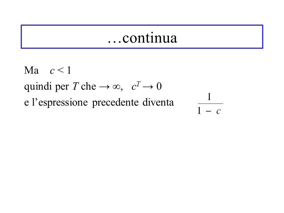 …continua Ma c < 1 quindi per T che → ∞, cT → 0