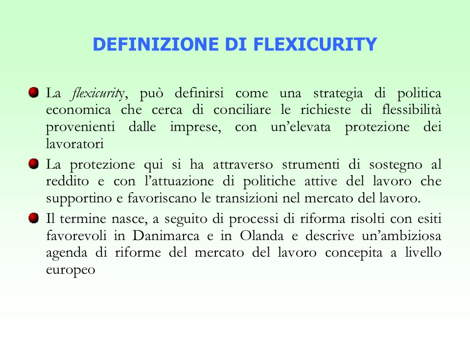 DEFINIZIONE DI FLEXICURITY