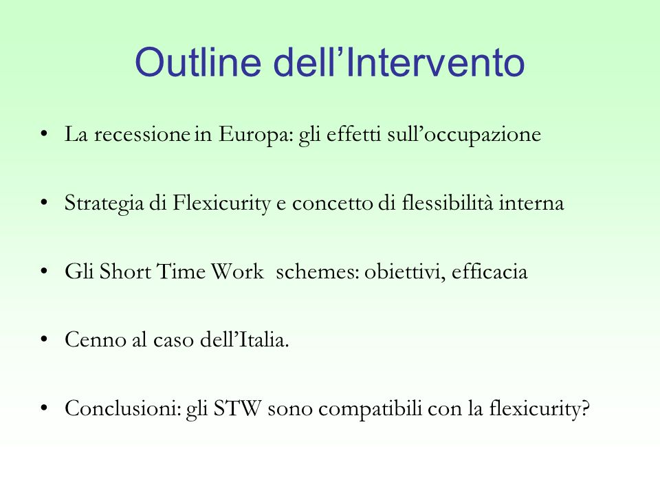 Outline dell'Intervento