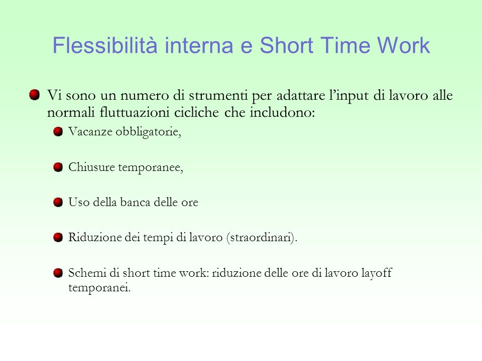 Flessibilità interna e Short Time Work