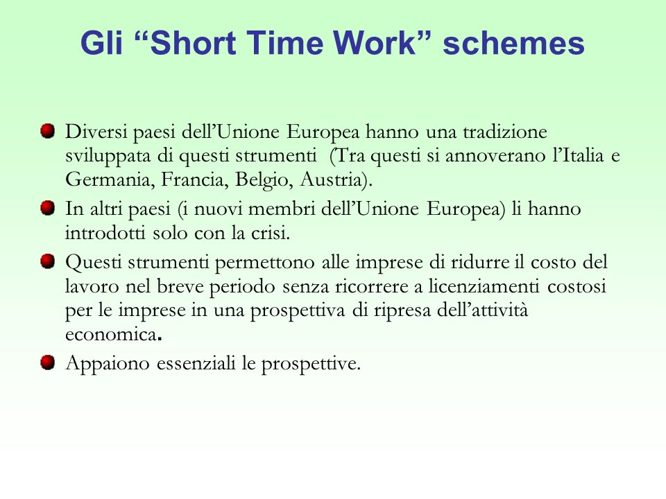 Gli Short Time Work schemes
