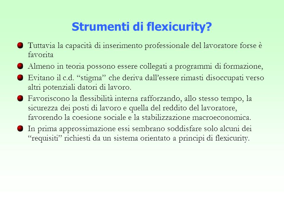 Strumenti di flexicurity