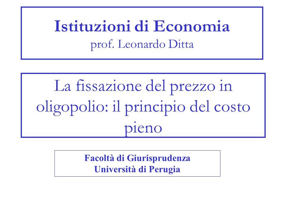 Istituzioni di Economia prof. Leonardo Ditta