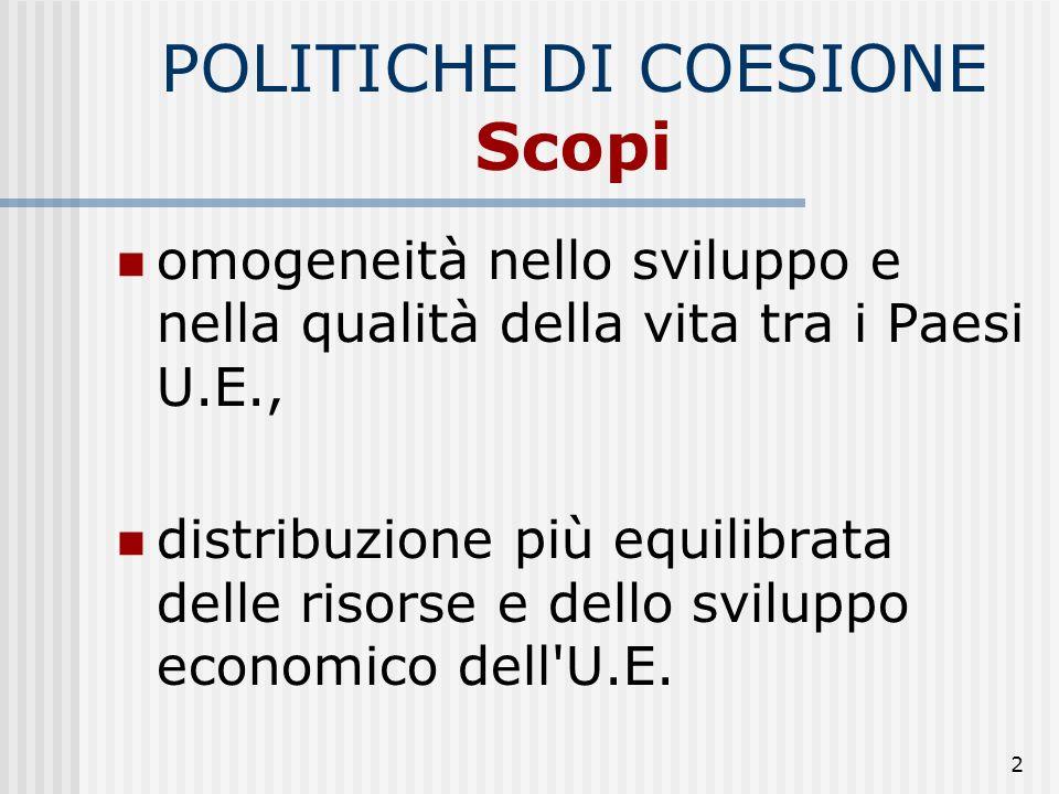 POLITICHE DI COESIONE Scopi