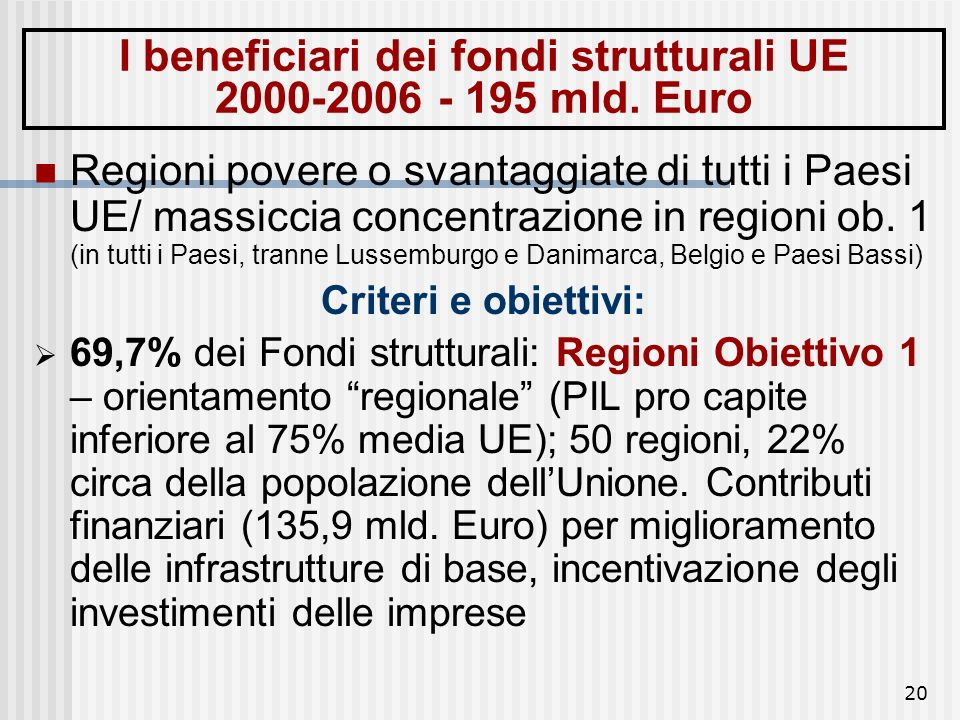 I beneficiari dei fondi strutturali UE 2000-2006 - 195 mld. Euro