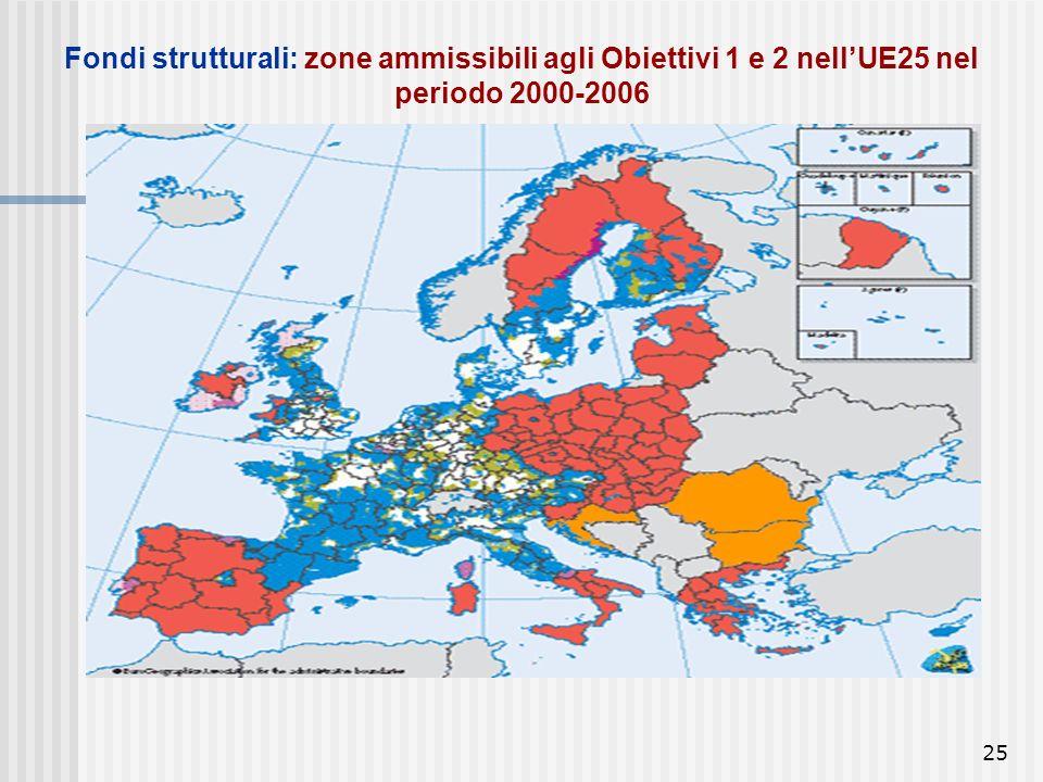 Fondi strutturali: zone ammissibili agli Obiettivi 1 e 2 nell'UE25 nel periodo 2000-2006