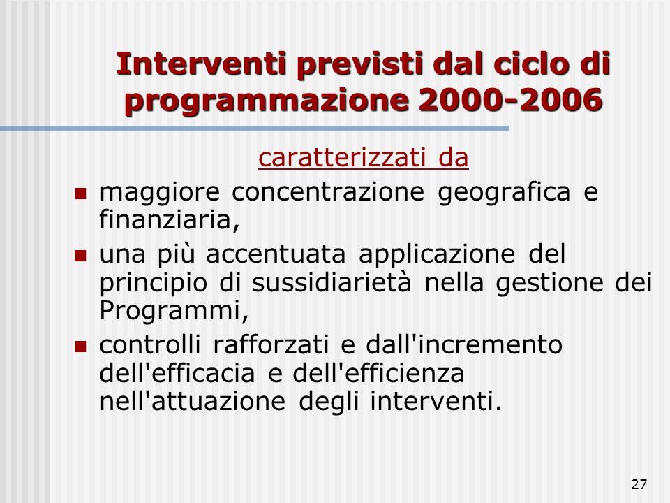 Interventi previsti dal ciclo di programmazione 2000-2006