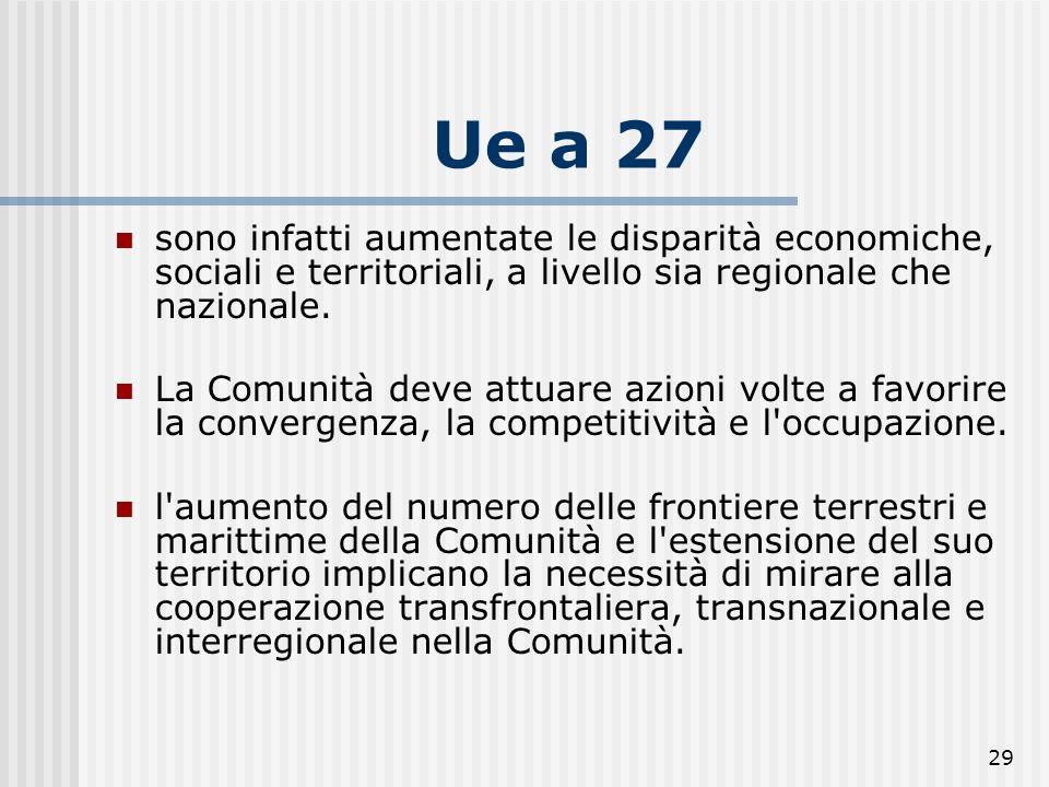 Ue a 27 sono infatti aumentate le disparità economiche, sociali e territoriali, a livello sia regionale che nazionale.