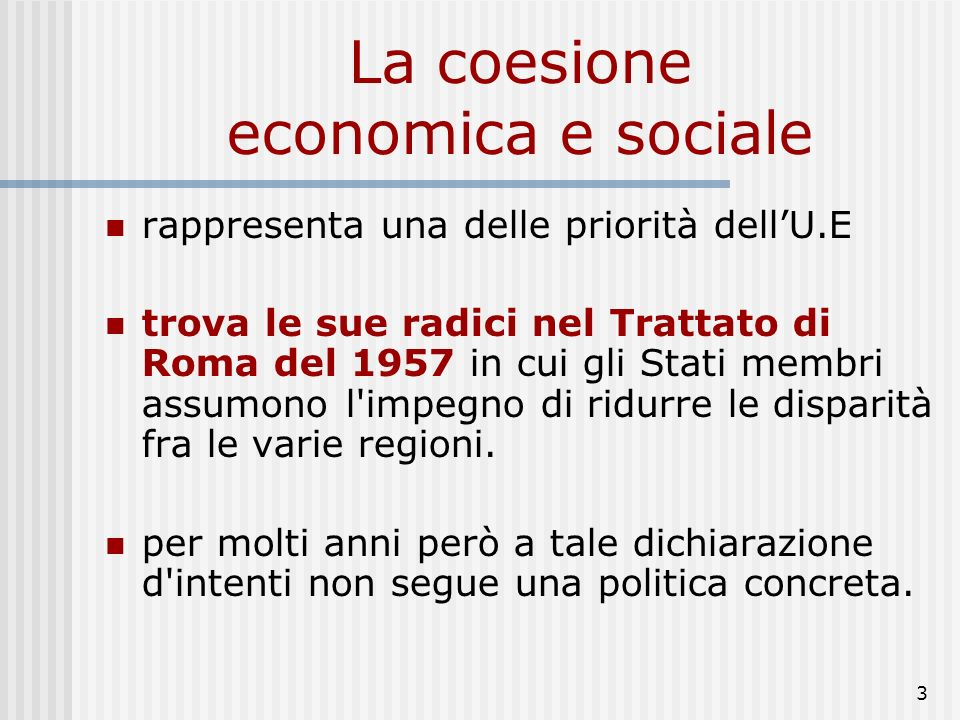La coesione economica e sociale