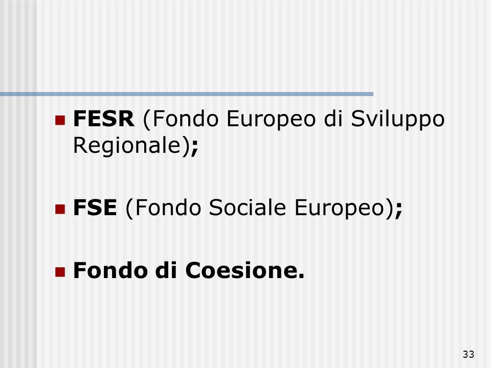 FESR (Fondo Europeo di Sviluppo Regionale);