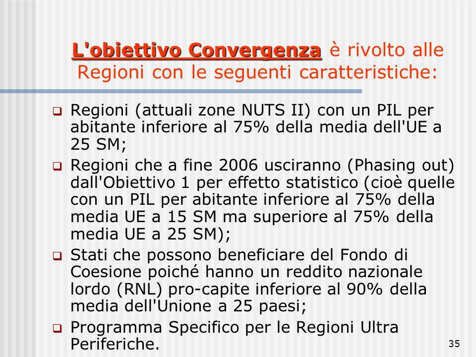 L obiettivo Convergenza è rivolto alle Regioni con le seguenti caratteristiche:
