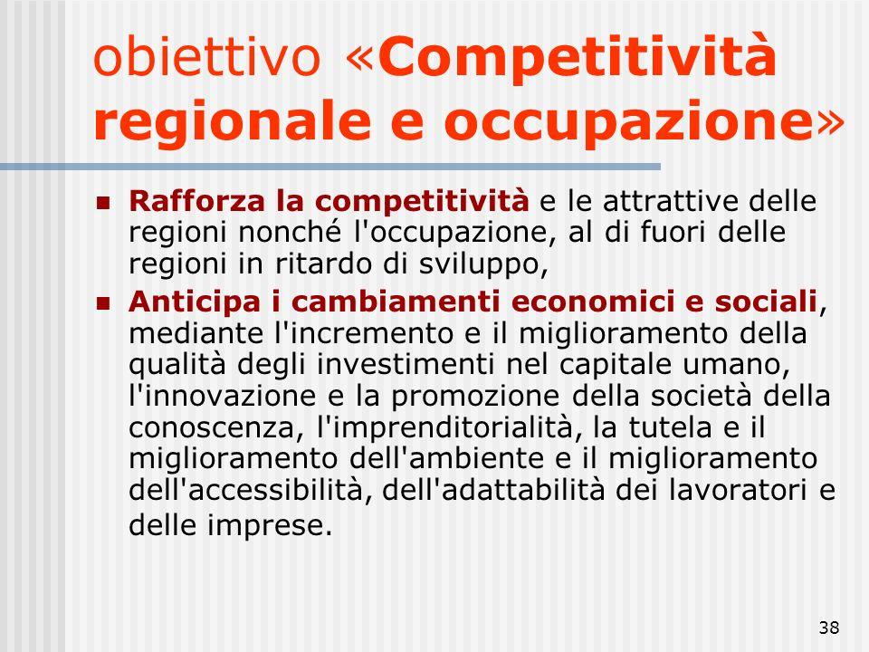 obiettivo «Competitività regionale e occupazione»