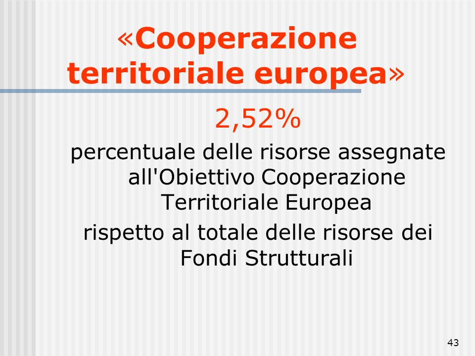 «Cooperazione territoriale europea»