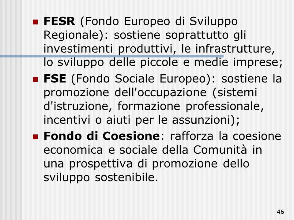 FESR (Fondo Europeo di Sviluppo Regionale): sostiene soprattutto gli investimenti produttivi, le infrastrutture, lo sviluppo delle piccole e medie imprese;