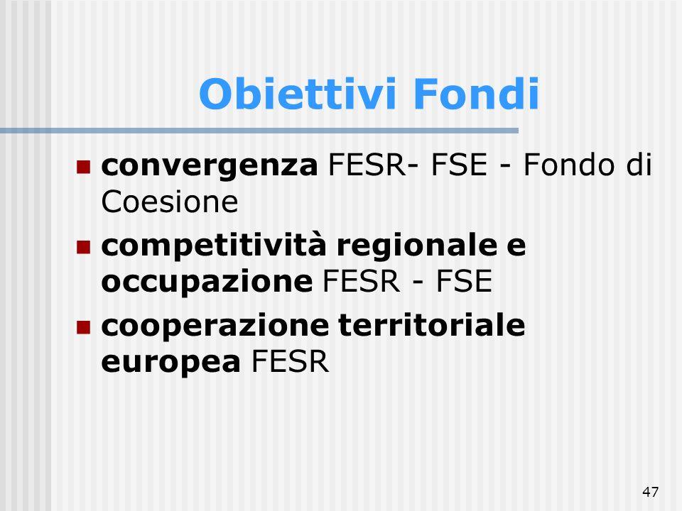 Obiettivi Fondi convergenza FESR- FSE - Fondo di Coesione