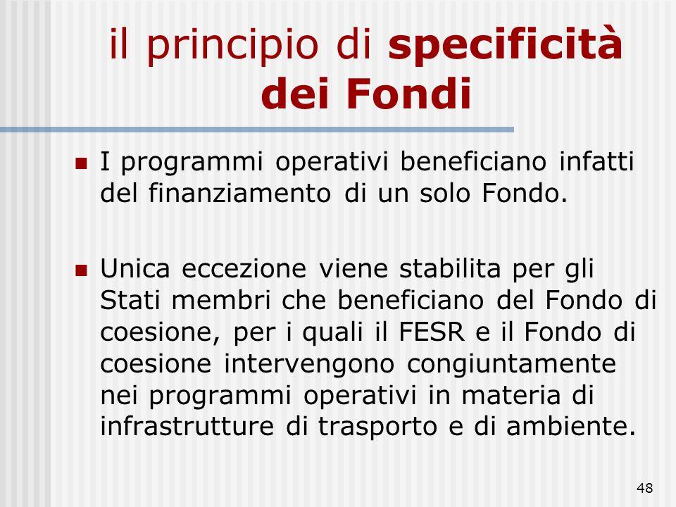 il principio di specificità dei Fondi