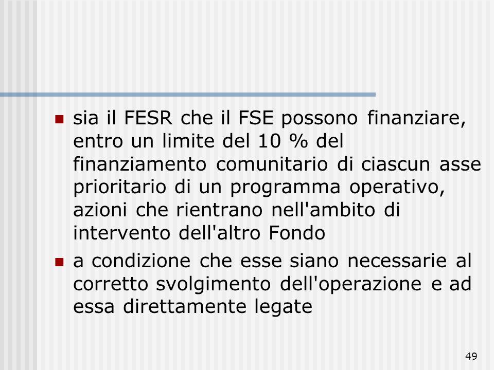 sia il FESR che il FSE possono finanziare, entro un limite del 10 % del finanziamento comunitario di ciascun asse prioritario di un programma operativo, azioni che rientrano nell ambito di intervento dell altro Fondo