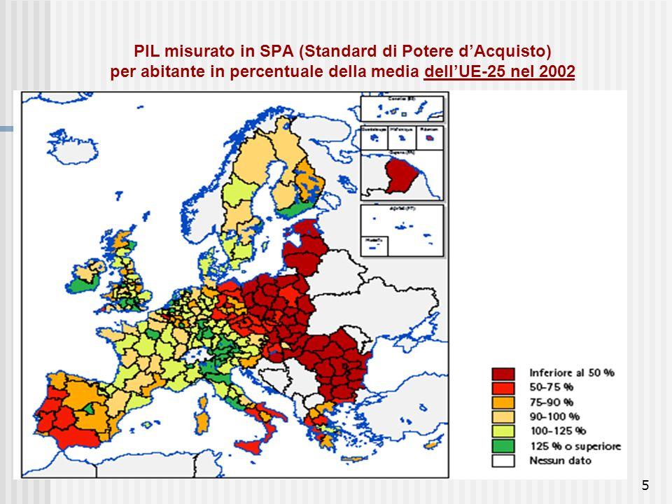 PIL misurato in SPA (Standard di Potere d'Acquisto) per abitante in percentuale della media dell'UE-25 nel 2002