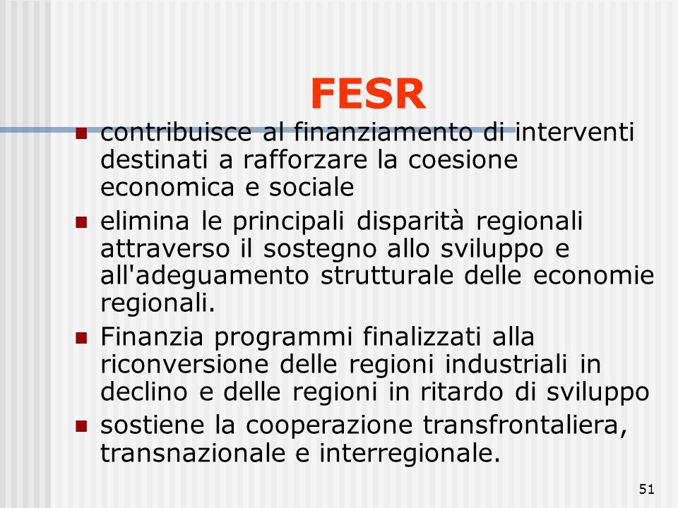 FESR contribuisce al finanziamento di interventi destinati a rafforzare la coesione economica e sociale.
