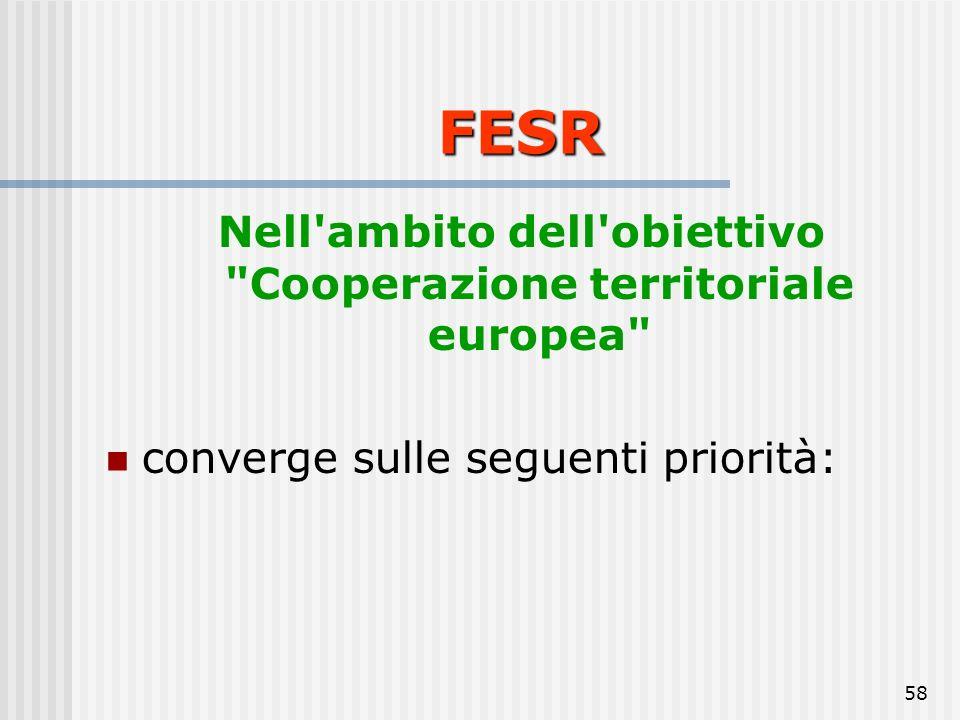 Nell ambito dell obiettivo Cooperazione territoriale europea