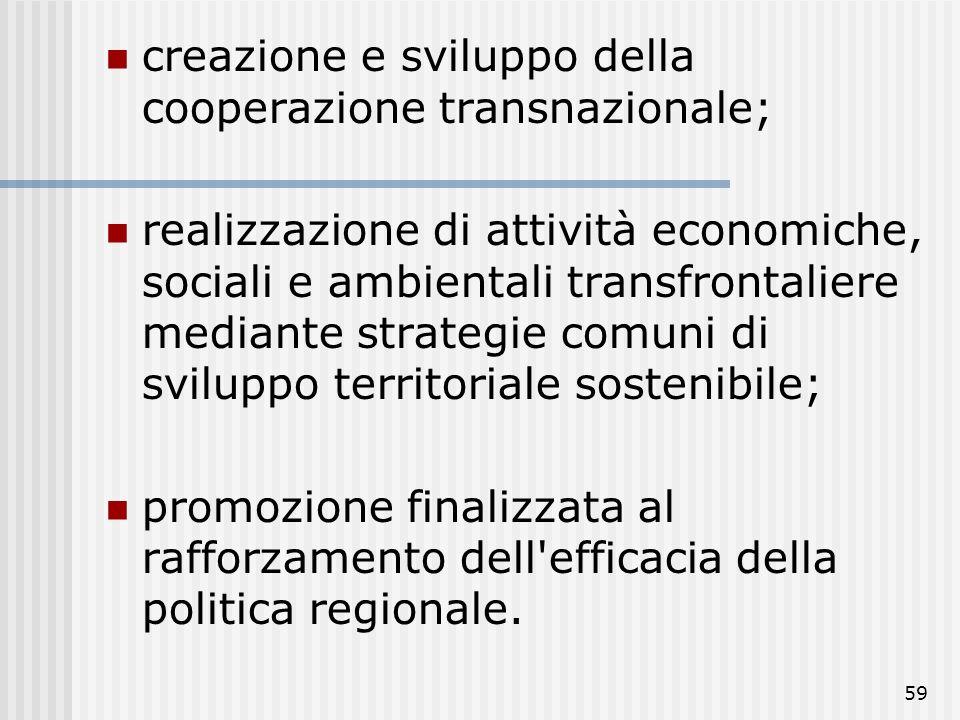 creazione e sviluppo della cooperazione transnazionale;