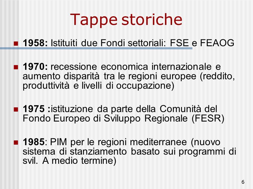 Tappe storiche 1958: Istituiti due Fondi settoriali: FSE e FEAOG
