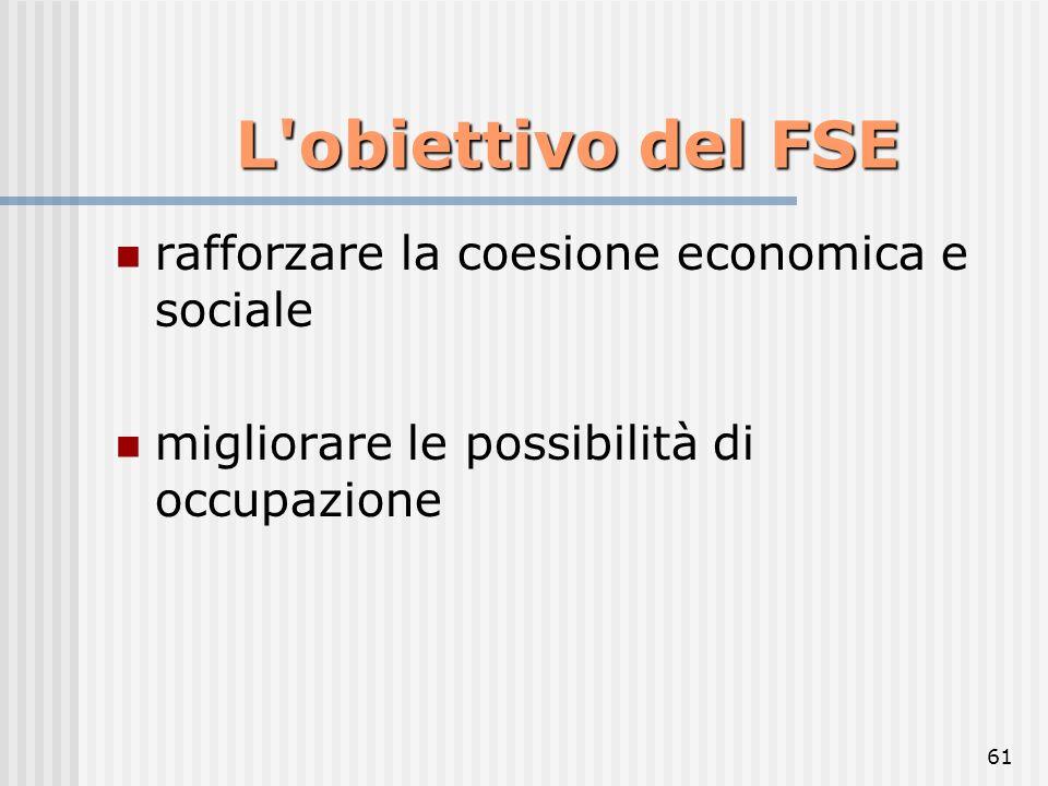 L obiettivo del FSE rafforzare la coesione economica e sociale