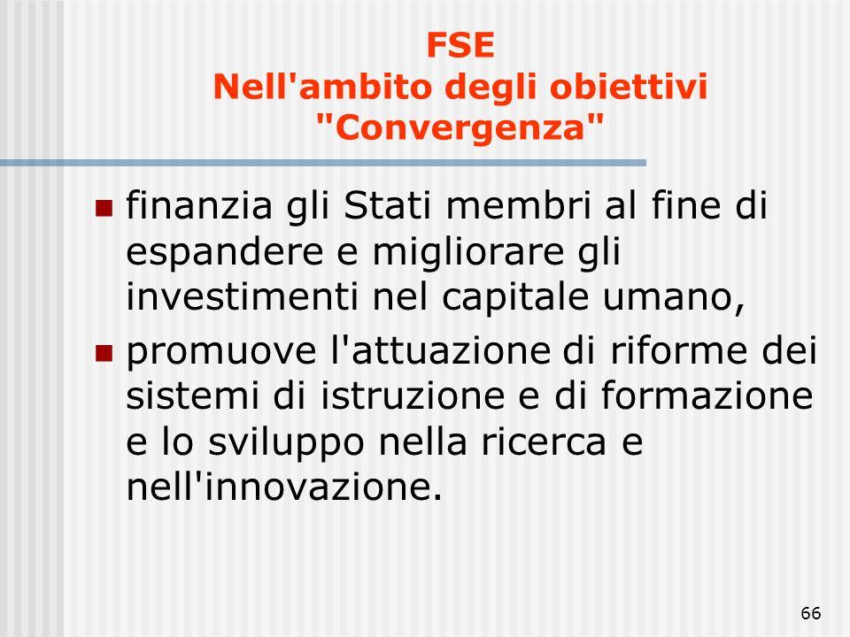 FSE Nell ambito degli obiettivi Convergenza