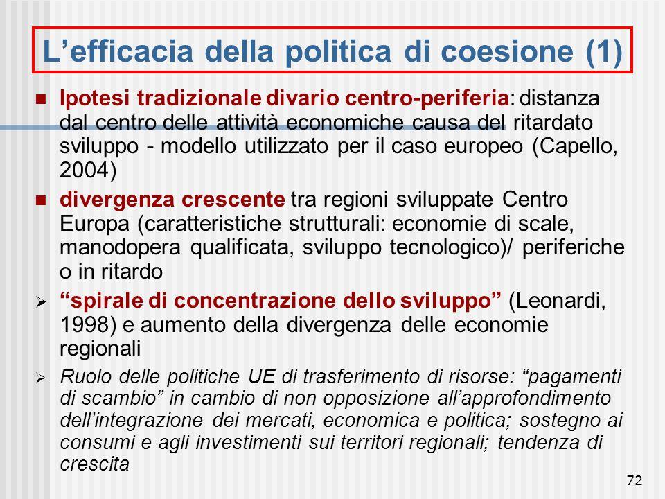 L'efficacia della politica di coesione (1)