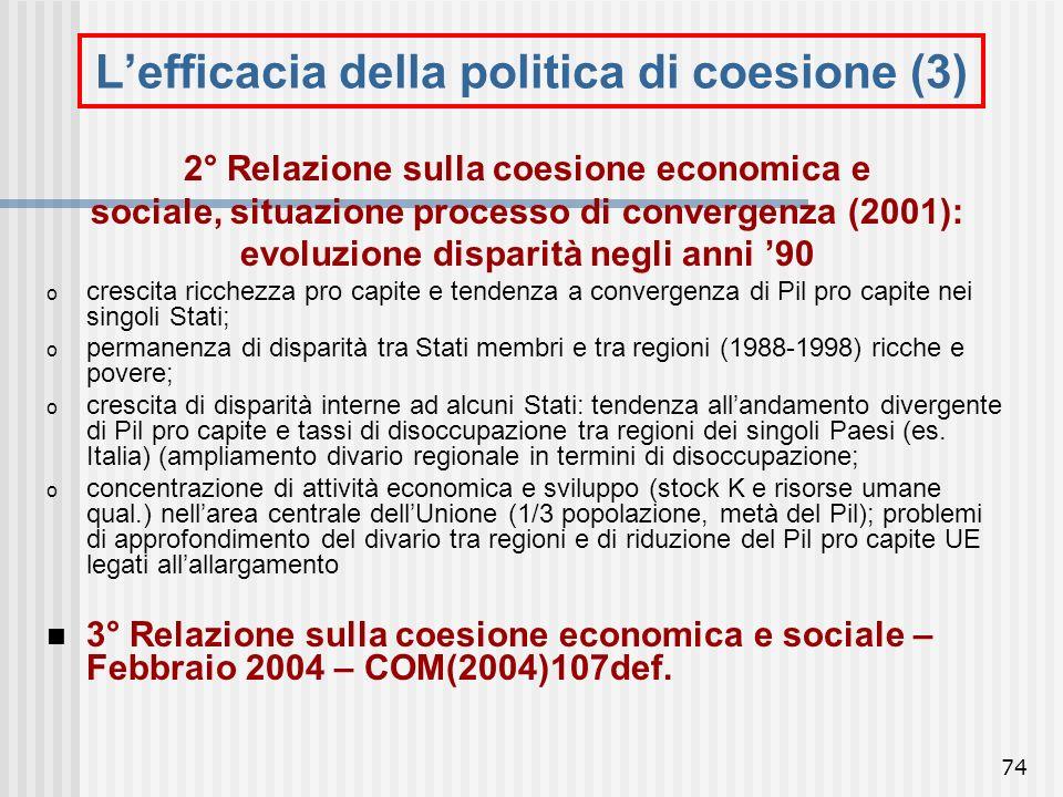 L'efficacia della politica di coesione (3)