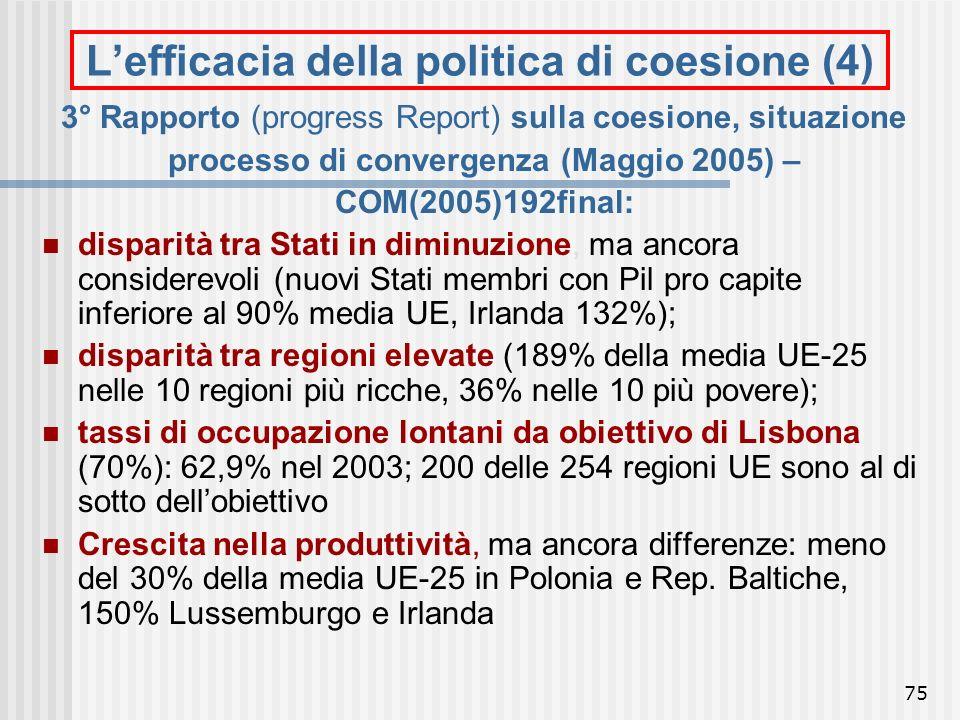 L'efficacia della politica di coesione (4)