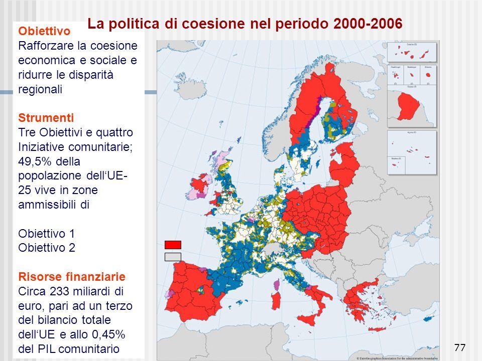 La politica di coesione nel periodo 2000-2006