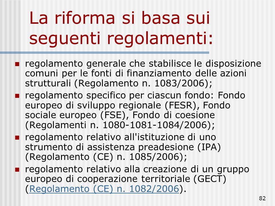 La riforma si basa sui seguenti regolamenti: