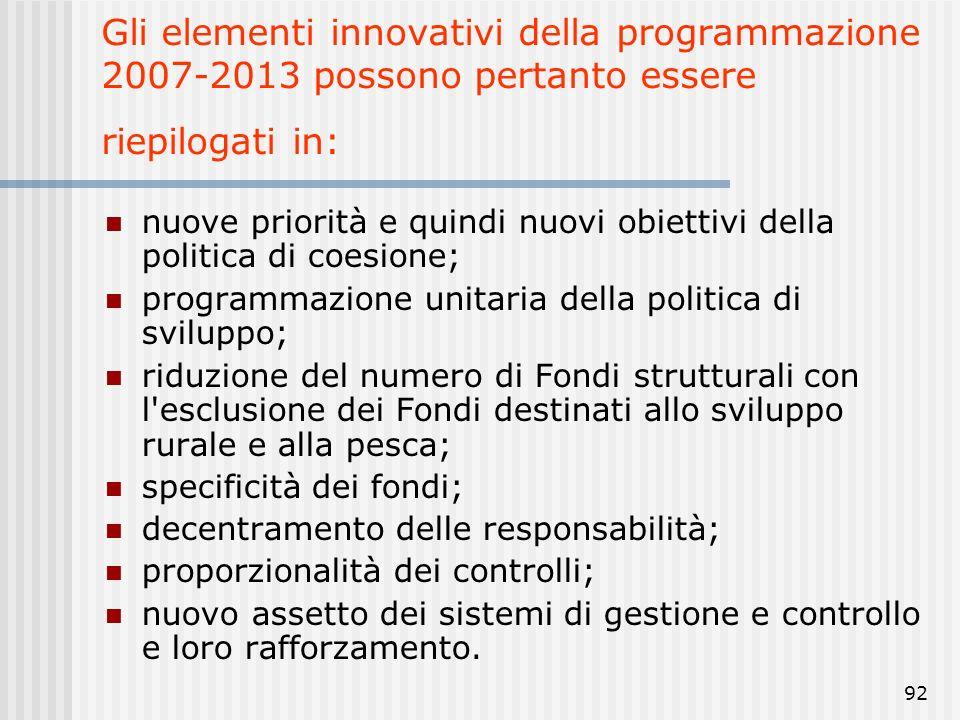 Gli elementi innovativi della programmazione 2007-2013 possono pertanto essere riepilogati in: