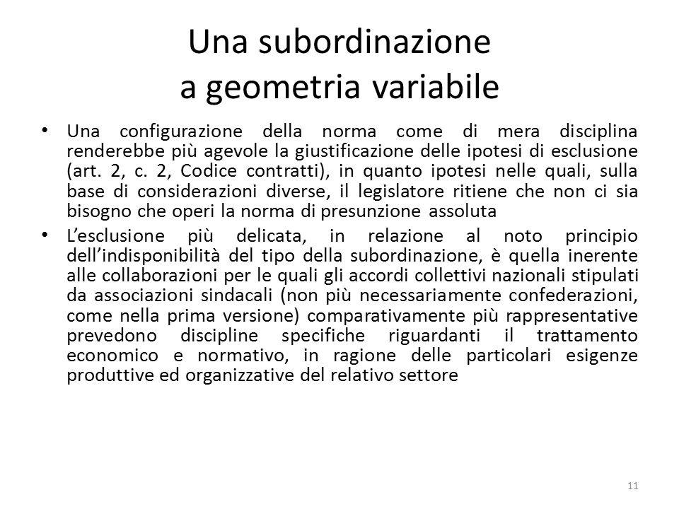 Una subordinazione a geometria variabile
