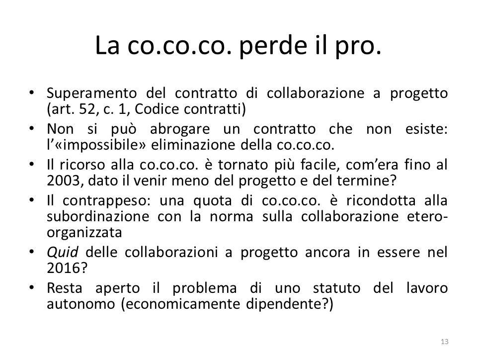 La co.co.co. perde il pro. Superamento del contratto di collaborazione a progetto (art. 52, c. 1, Codice contratti)