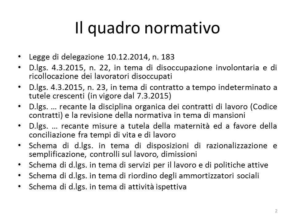 Il quadro normativo Legge di delegazione 10.12.2014, n. 183