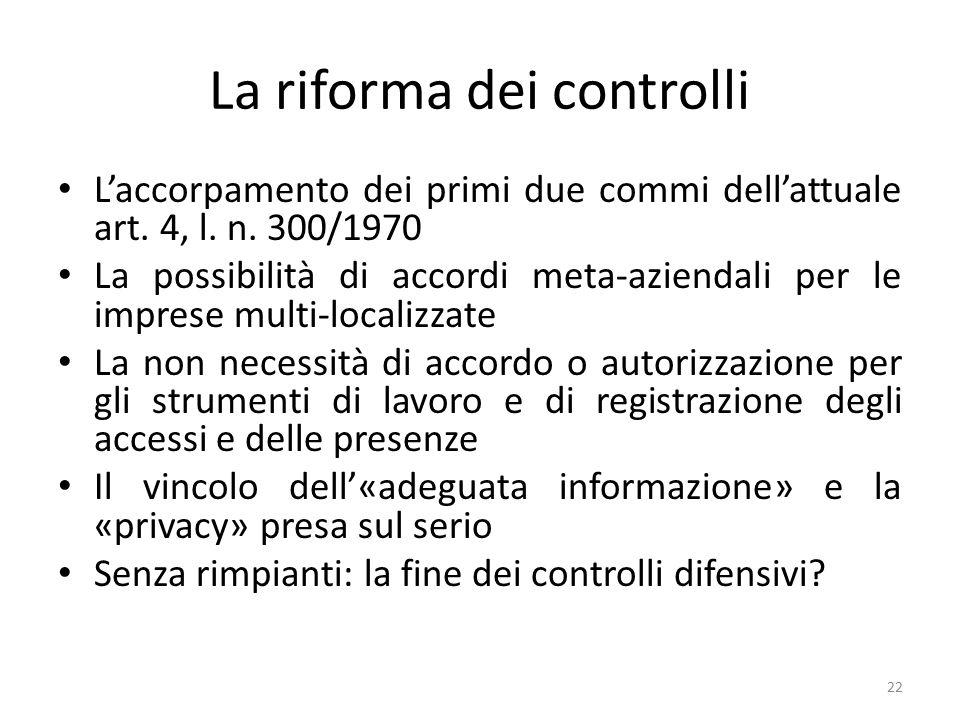 La riforma dei controlli