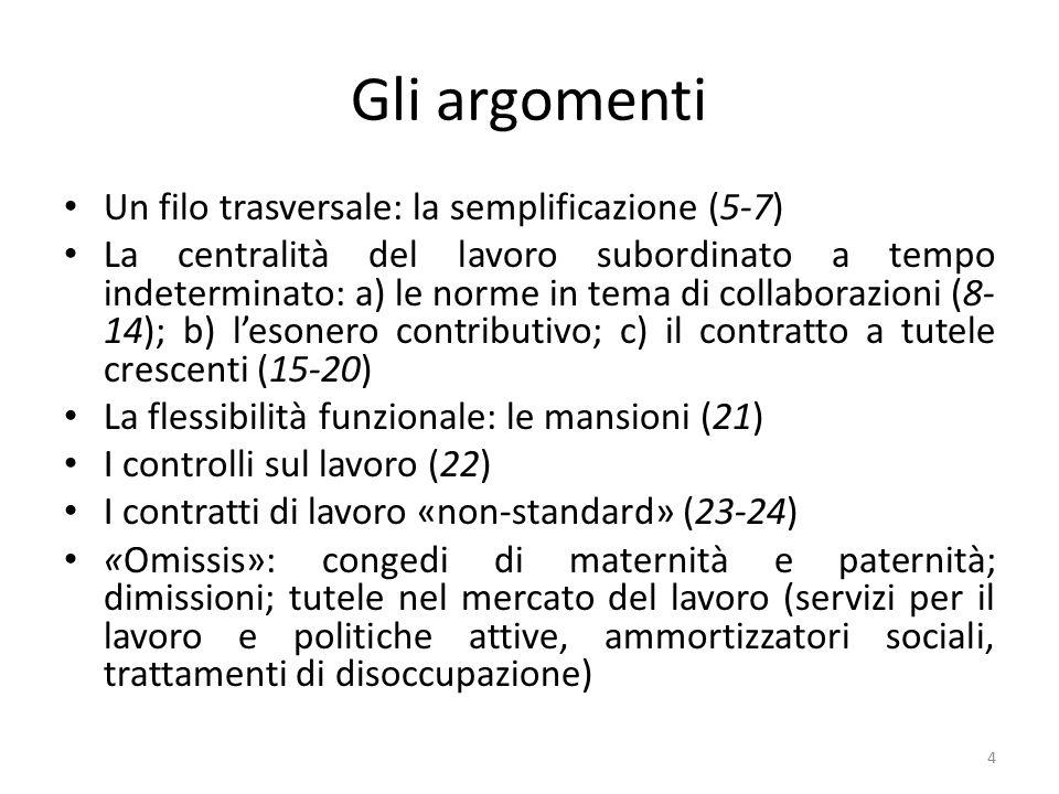 Gli argomenti Un filo trasversale: la semplificazione (5-7)