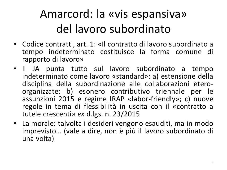 Amarcord: la «vis espansiva» del lavoro subordinato