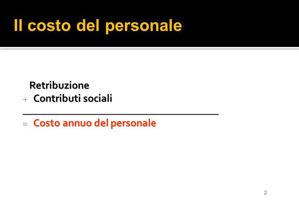 Il costo del personale Retribuzione Contributi sociali