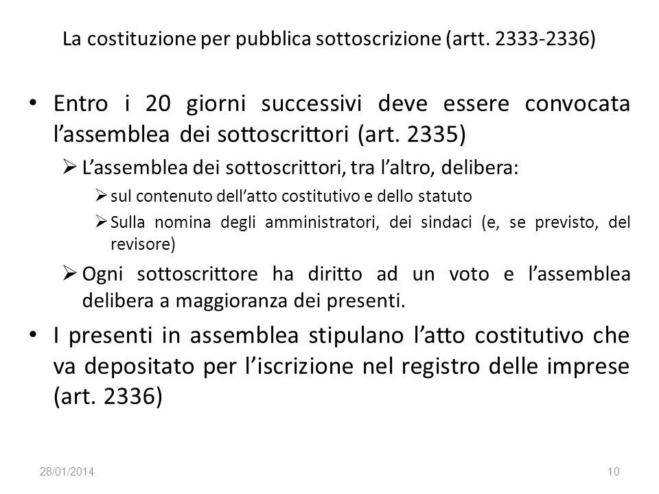 La costituzione per pubblica sottoscrizione (artt. 2333-2336)