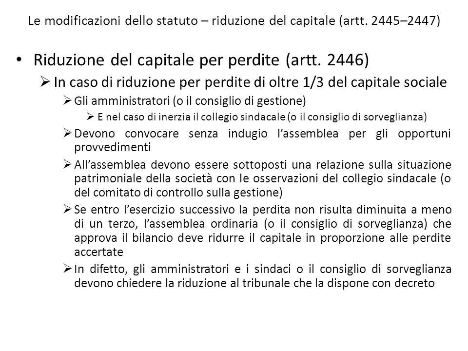 Riduzione del capitale per perdite (artt. 2446)