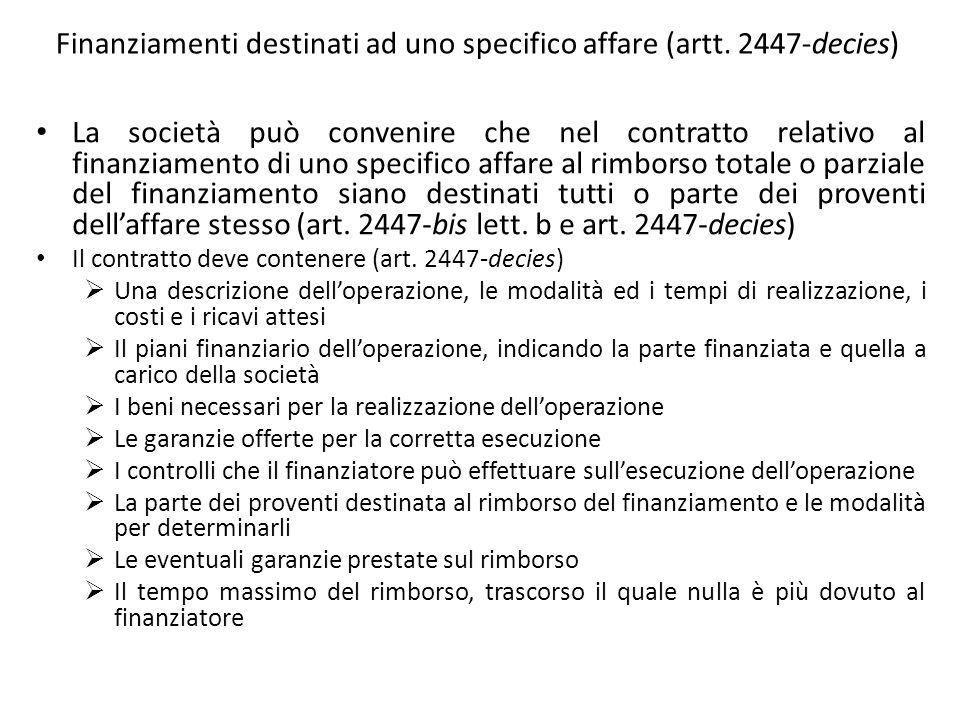 Finanziamenti destinati ad uno specifico affare (artt. 2447-decies)